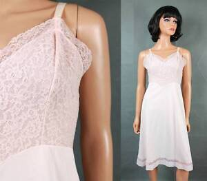 Vintage-Full-Slip-Sz-34-Short-M-50s-60s-Berkshire-Light-Pink-Floral-Lace-Bust