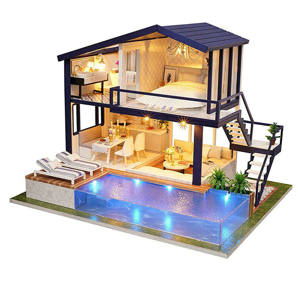 DIY LED DOLLhaus MINIATURE APARTMENT KIT haus WITH Möbel ROOM Geschenk SUPER