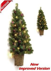 Luxury Pre Lit Christmas Tree Half Wall Hanging LED Lights Green Home Decoration   eBay