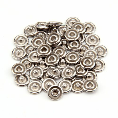 Metal Prong Ring Snap Fasteners Press Studs Poppers 9.5mm 10set Silver