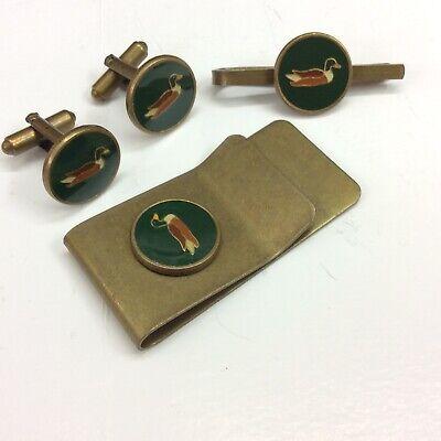 Chasse Vintage Manchettes , Pince Cravate ,pince Billets #2 Canard Duck Avere Sia La Qualità Della Tenacia Che La Durezza