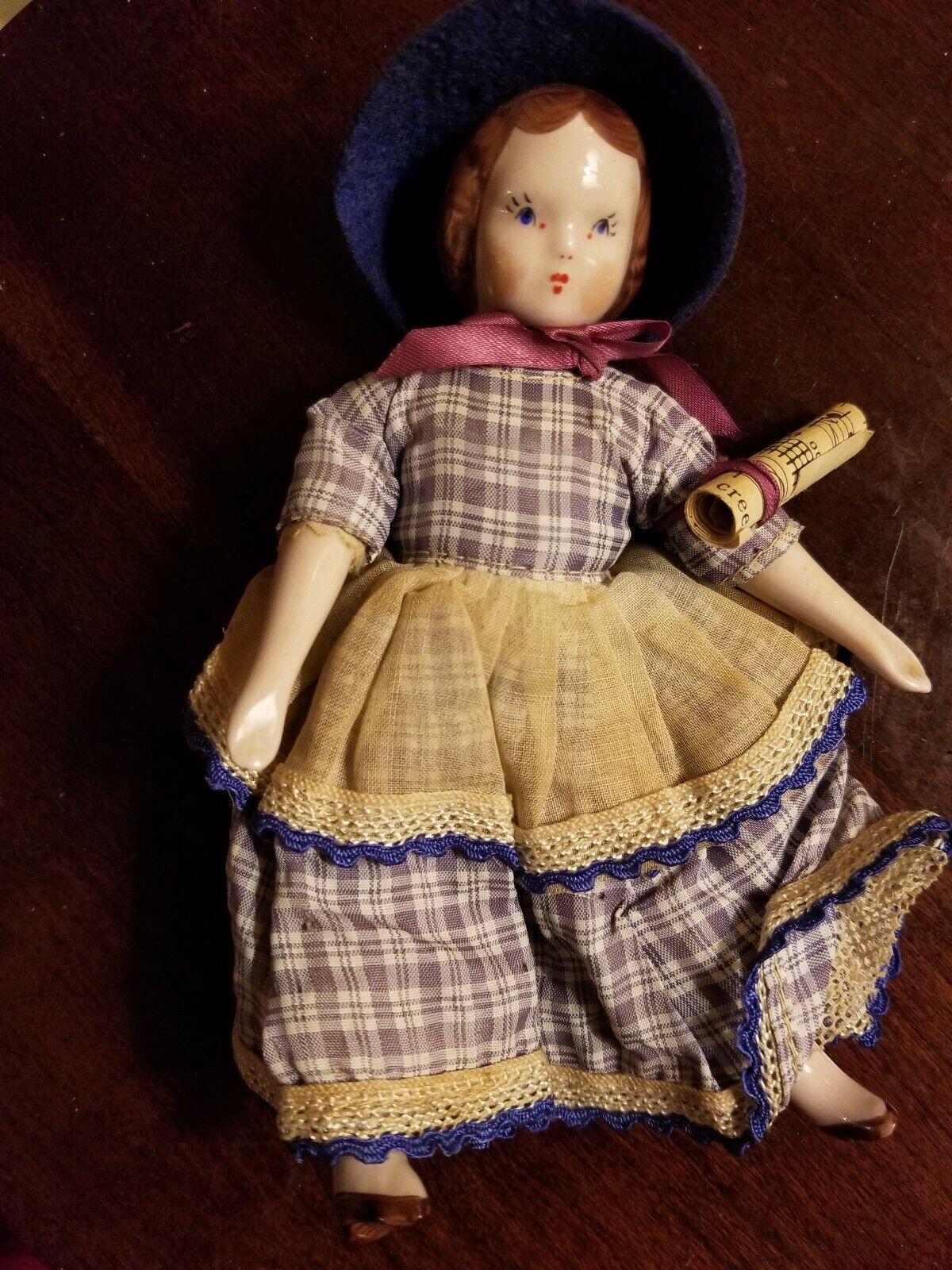 1940's Ruth Gibbs Godey's Little Lady porcelain Doll BETH Little damen w  music