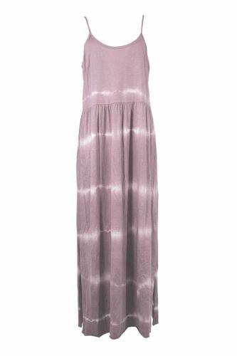 New Italian Womens Lagenlook Tie Dye Print Cami Sleeve Long Ladies Maxi Dress