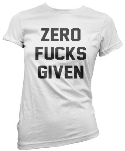 Funny Attitude Grumpy Sassy Swearing Womens Fitted T-Shirt Zero F***s Given