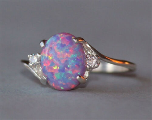 2.3Ct Fire Opal Women 925 Silver Ring Fashion Wedding Engagement Party Size 5-11