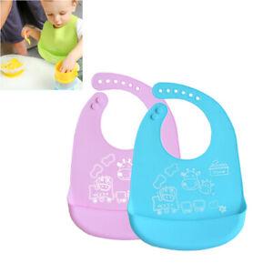 2-Pcs-Waterproof-Baby-Bib-Silicone-Baby-Feeding-Bibs-With-Food-Catcher-Pocket