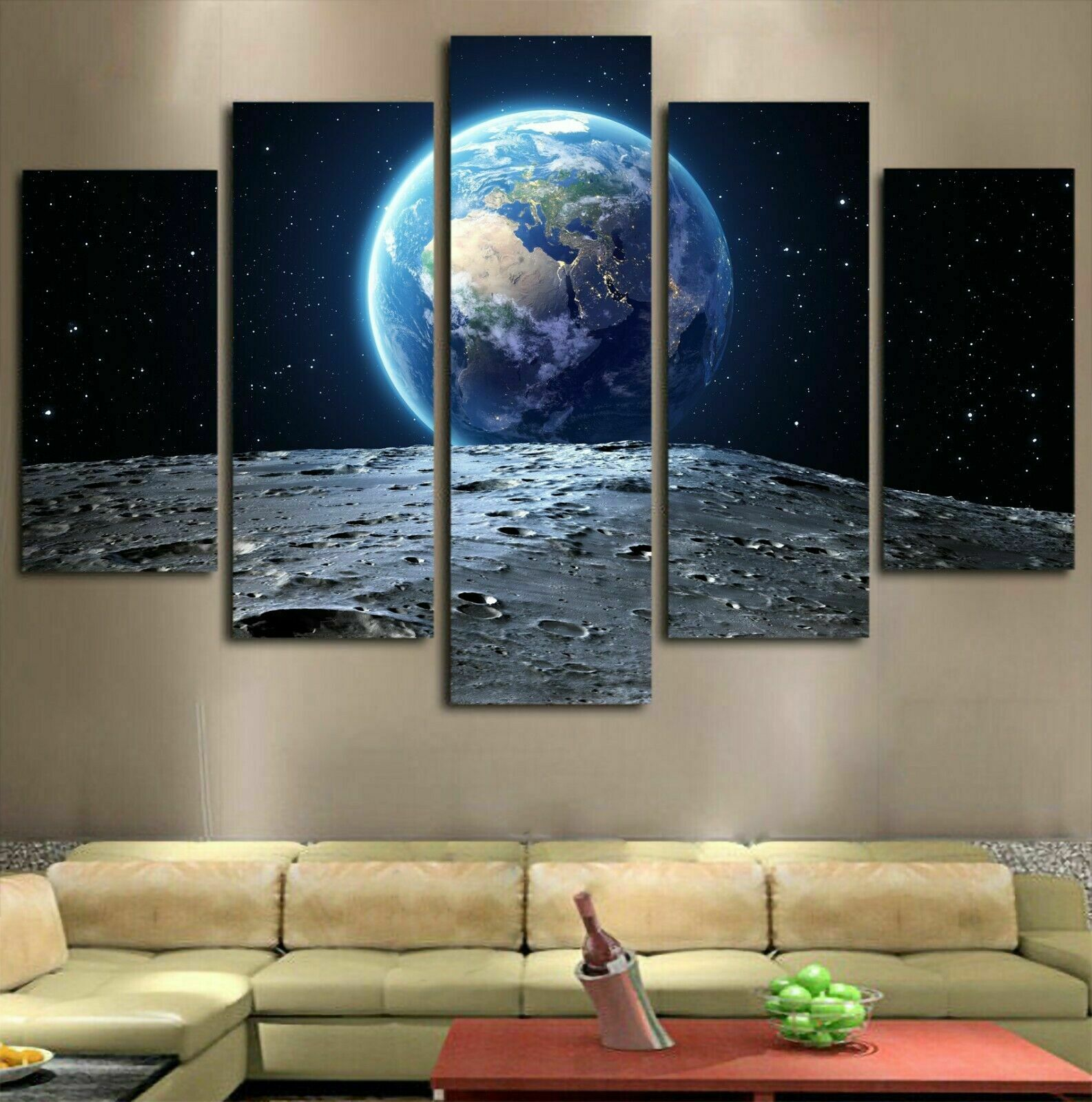 Earth View Moon Space Surface 5 Pieces Canvas Wall Art Poster Print Home Decor