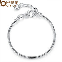 New Silver Snake Chain Bracelets Fit Bangle European Charms Beads Jewelry