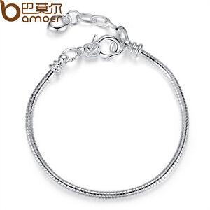 New-Silver-Snake-Chain-Bracelets-Fit-Bangle-European-Charms-Beads-Jewelry