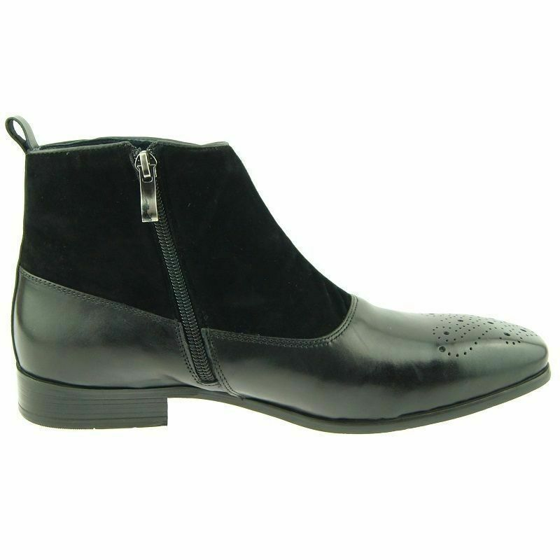 Mens Handmade Boots Button Up Zip Black Leather & Suede Ankle Formal Wear shoes