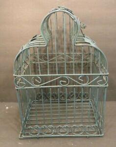 Vintage-Hanging-Metal-Green-Bird-Cage-Bird-Shelf-Table-Hanging-Decor