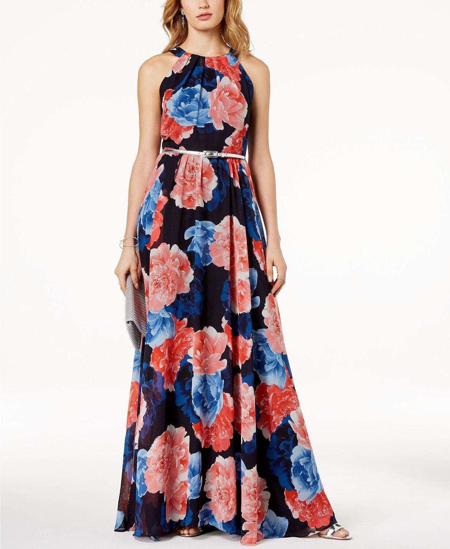 INC (N8133-29) Floral-Print Maxi Dress Multi Floral Sz 8  159
