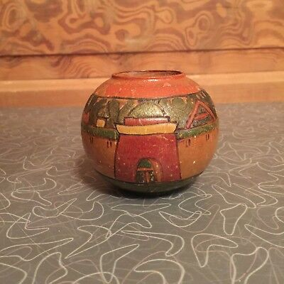 Antiques Woodenware Objective Vintage Hand Carved Wood Castle Vase An Indispensable Sovereign Remedy For Home