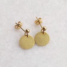Disco Círculo Pendientes. simple Zarcillos de oro de latón crudo Minimalista Jewellery UK