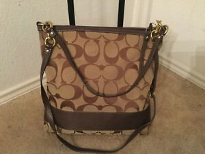 Image Is Loading Coach Signature Bag Brown Leather Purse Handbag A0868