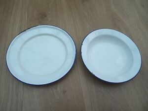 fe7c4bdd9c1 Image is loading TWO-VINTAGE-ENAMEL-PLATES-BOWLS-WHITE-WITH-BLUE-