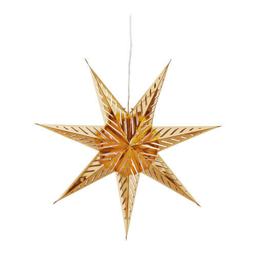 Star Lantern 70cm  Strala with 3m Coed Gold with cut out chevrons Luminere Light