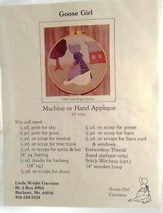 Folk-Art-Embroidery-Applique-Goose-Girl-14-inch-New-Vintage-1982