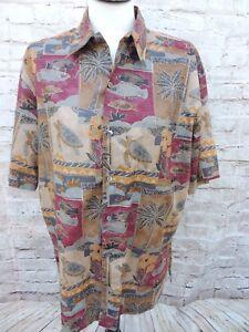 Tori-Richard-Cotton-Lawn-Hawaiian-Shirt-Size-M-Turtles-Fish-Palm-Trees-Aloha