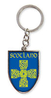 Scottish Blue Celtic Cross Scotland Shield Metal Bag Purse Keyring Charm