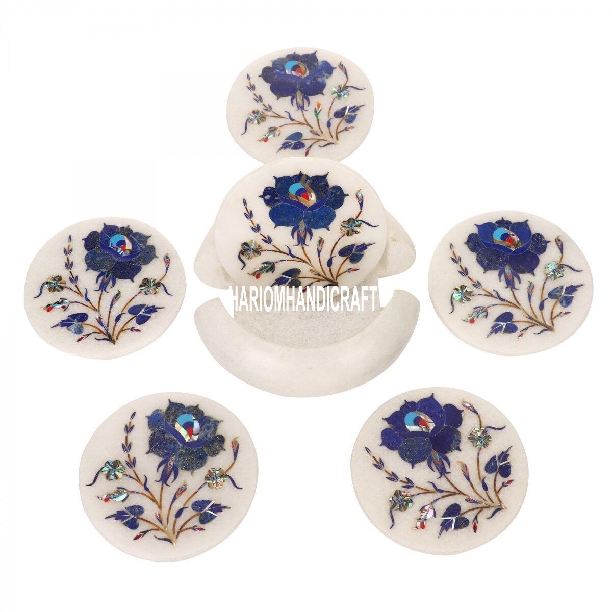 Marbre Blanc Coaster Set Lapis Semi Precious Inlay Cuisine Art cadeaux décoration H3559