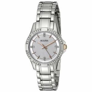 Bulova Women's Quartz Crystal Accent Silver-Tone Bracelet 30mm Watch 98L180