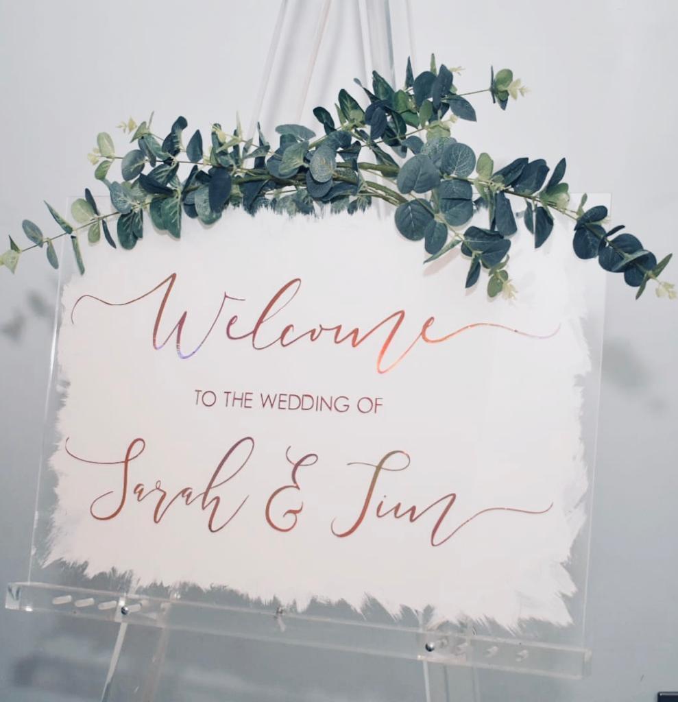 Bienvenue Mariage Signe Acrylique Transparent avec couleur dos Personnalisé sur Mesure A2