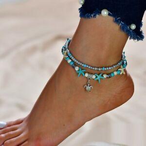 Fashion Plage Étoile De Mer Tortue Turquoise Perles Bracelet Barefoot Bracelet Leg Chaîne-afficher Le Titre D'origine Pourtant Pas Vulgaire