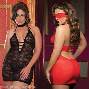 Plus-Size-Lingerie-One-Size-Queen-Black-or-Red-Valentine-Chemise-STM9217X