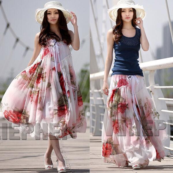 Womens Summer Asymmetric Big Hem Boho Floral Chiffon Long Dress Beach Skirts