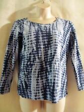 DG2 by Diane Gilman~ Navy Blue/Light Blue Tie Dye~Stretch Knit Top -Medium-NWOT