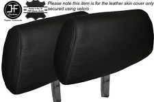 BLACK STITCHING 2X FRONT HEADREST LEATHER SKIN COVER FITS MG MGB & MG MIDGET