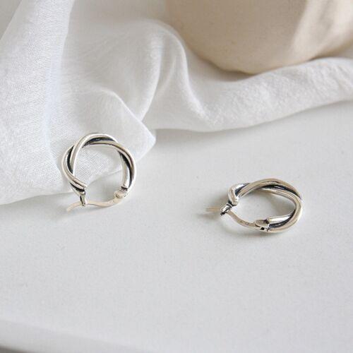 Vintage Solid 925 Sterling Silver Twist Weave Earrings for Women Fine Jewelry