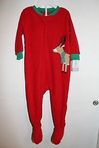 9b8d1abbe NWT CARTERS BABY BOY GIRL HOLIDAY FOOTED RED GREEN REINDEER SLEEPER ...