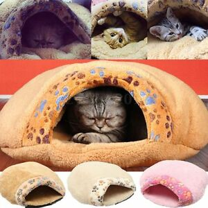 Pet-Dog-Cat-Puppy-Soft-Plush-Igloo-Bed-Warm-Cave-House-Mat-Slippers-Snug-UK