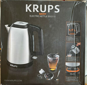 Krups-1-7-Liter-Savoy-Electric-Kettle-in-Stainless-Steel-BW3110-Silver-USED