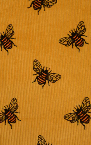 Run And Fly Bee Yellow Mustard Retro Cord Pinafore Dress New Tags 8-16