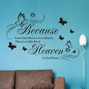DIY-Wall-Sticker-Because-Heaven-Butterfly-English-Quotes-Home-Decoration-LC