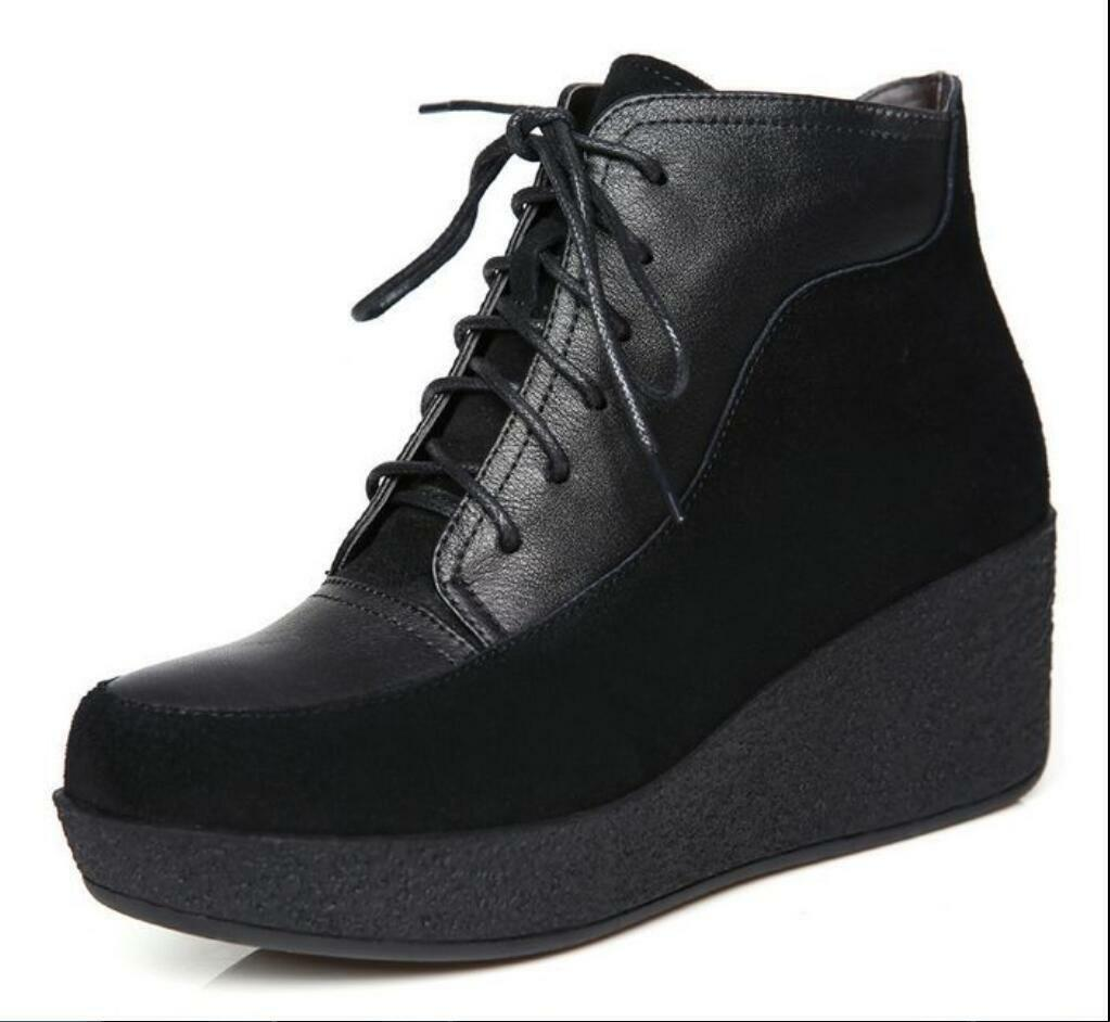Hot Women British Platform Round Toe Lace Up Cowhide Ankle Wedge Short Boots SRR
