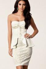 # Schößchenkleid Minikleid Abendkleid M 36 38 Partykleid Clubkleid Spitze Weiß#