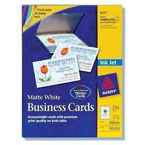 Avery avery dennison 8371 250 cards 2x35 white inkjet kit stock photo reheart Gallery