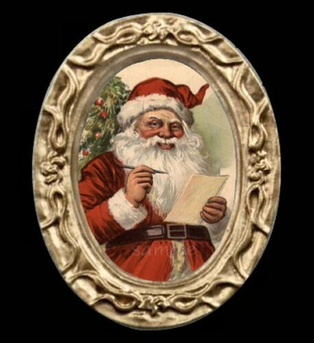 Santa In Oval Vintage Victorian Miniature Dollhouse Christmas Picture
