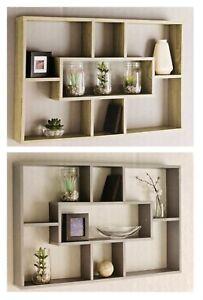 Home-Multi-Compartment-Wall-Shelf-76cm-Grey-Oak-Storage-Shelves-Shelving