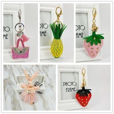 EB/_ Enamel Pineapple Fruit Pendant Charms Clasp Handbag Car Keychain Key Ring ta