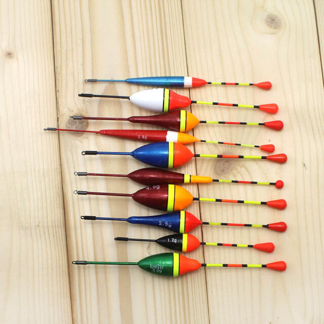 10Pcs Long Tail Fishing Throw Floats Mix Size Floating Bobbers Fishing Tools Set