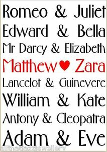 Personalised love couples wife husband anniversary wedding engagement gift print