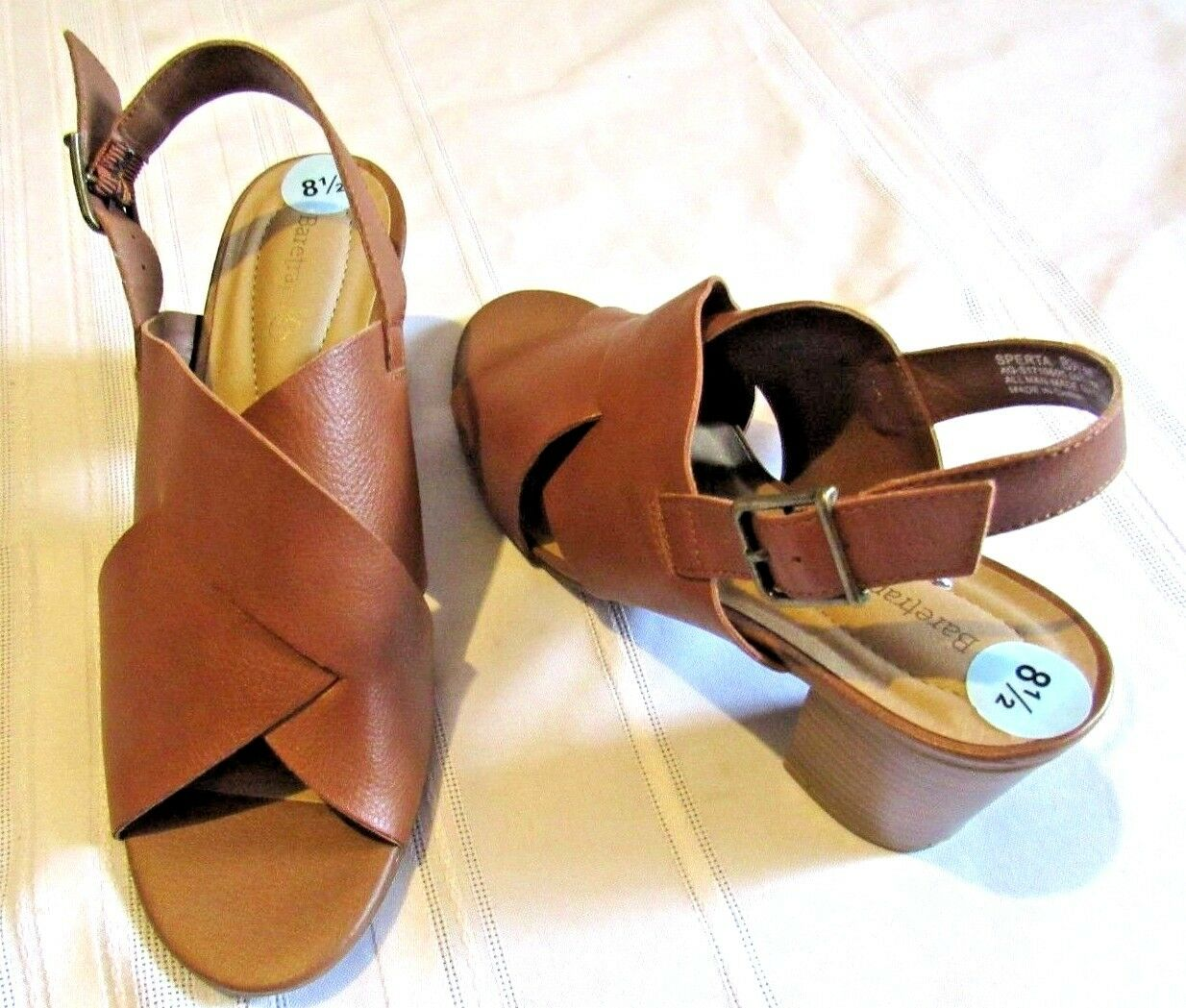 BARE TRAPS WOMEN'S BROWN SLINGBACK OPEN TOE HEEL SANDAL SHOE SIZE 8 1 2 M NWOB