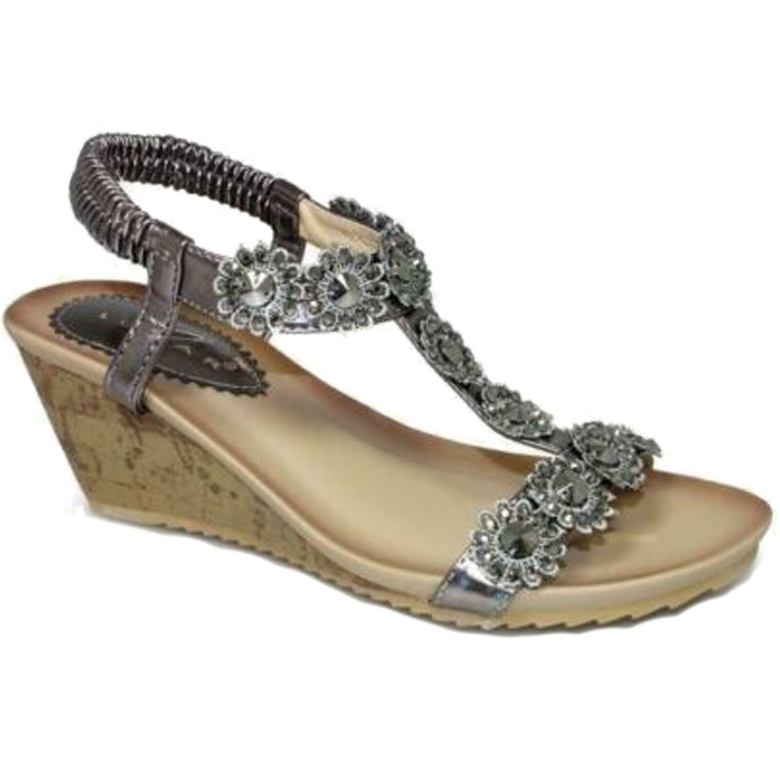 JLH780 Cally Women's Comfortable T-Strap Floral Flower Elasticated Wedge Sandals