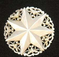 Round  Mother of Pearl  7 Point Star  Pin/Brooch, Bethlehem, Fifigree back round