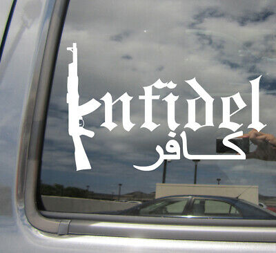 Infidel in Arabic Vinyl Car Decal Bumper Window Mirror Laptop Sticker Military